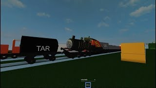 Thomas and Friends James It gets all black tar Things happen in Roblox Thomas the train