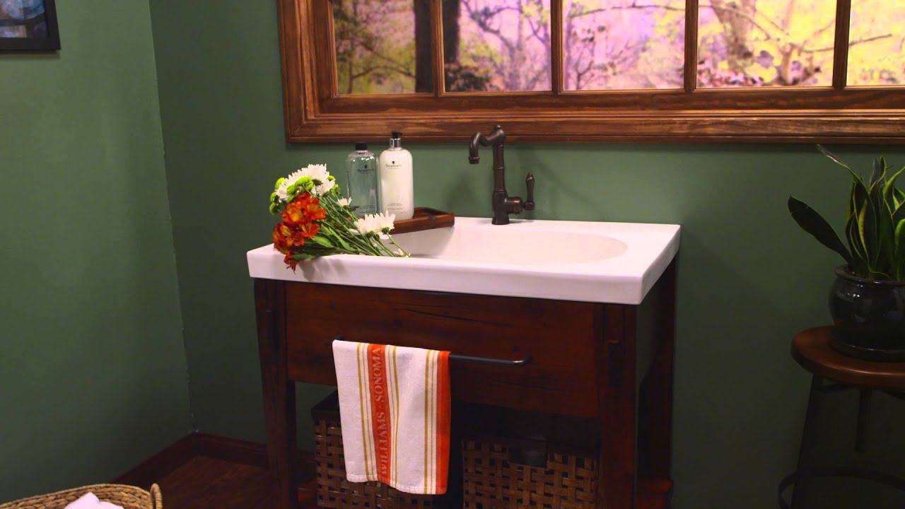 Ronbow Portland Vanity In Rustic Pine Finish   YouTube