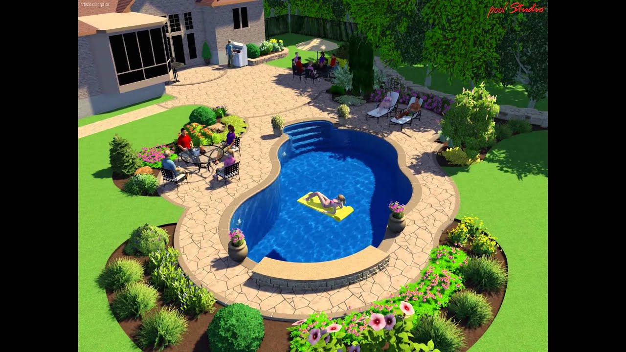 16 x 32 oasis inground pools with waterfall youtube for 16x32 pool design