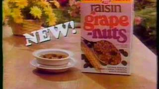 1983 Post Raisin Grape Nuts cereal commercial.