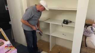 Building Wardrobe Shelves, Ensuite.