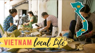 Vietnam: Chopping Durian single shot of local life