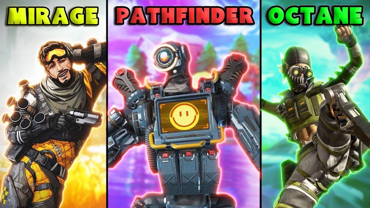 MIRAGE vs PATHFINDER vs OCTANE - NEW Apex Legends Funny Epic Moments #53