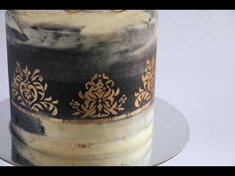 gold-stencil-on-watercolour-black-and-white-cake--rosie's-dessert-spot