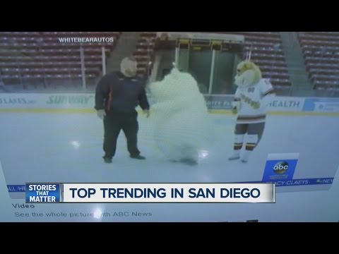 Thumbnail: Polar bear mascot slips and falls... over and over again!
