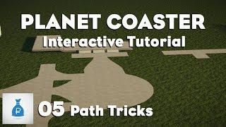 Planet Coaster: Interactive Tutorial Park [Ep 5] - Path Tricks, Plazas & Creating Smaller Steps