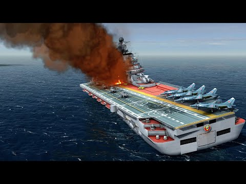 HUGE AIRCRAFT CARRIER SINKS, HARPOON MISSILES FIRED | Cold Waters Mission Gameplay
