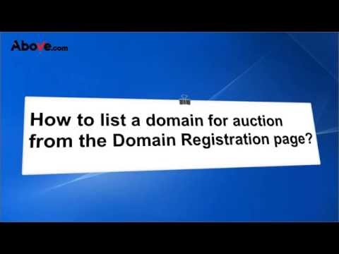 How to list a Domain for auction from the Domain Registration page?