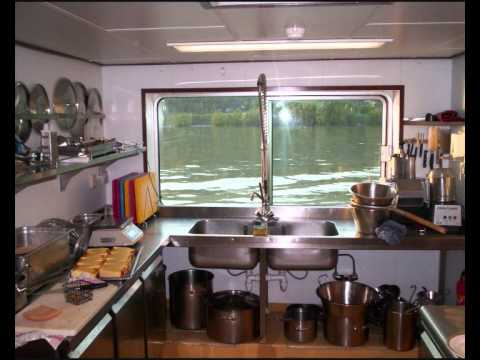 Crew cabins and galleys of river cruise ships
