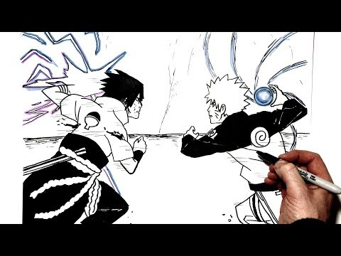 How to Draw Rasengan vs Chidori | Step by Step | Naruto