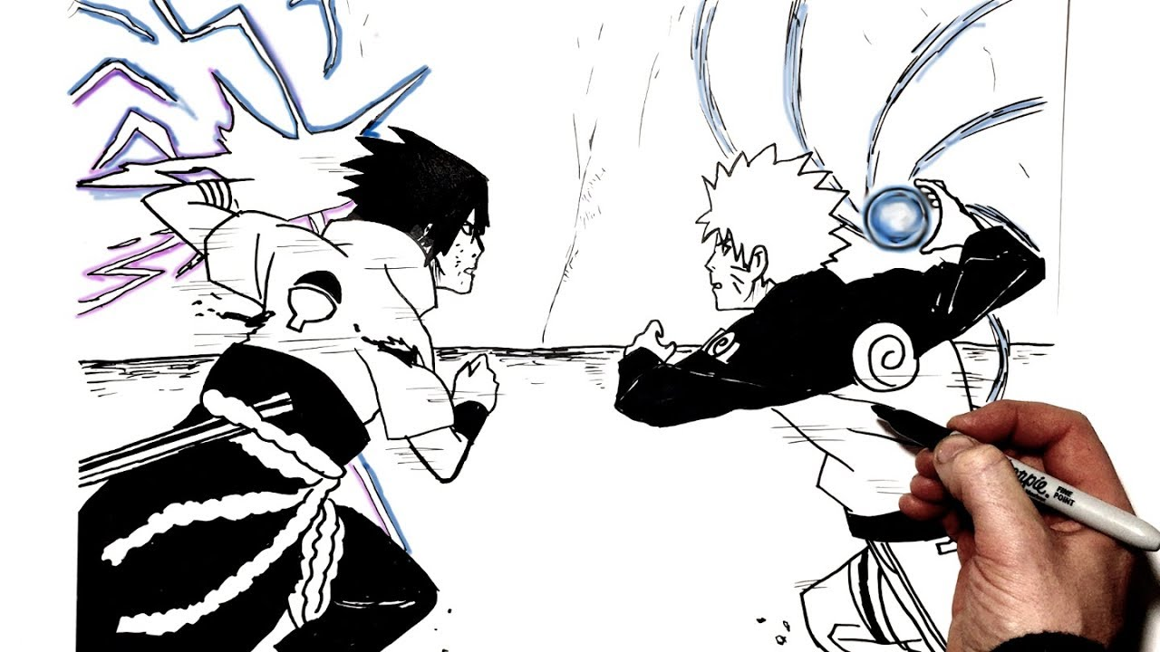 How To Draw Rasengan Vs Chidori Step By Step Naruto Youtube