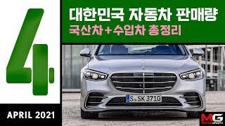 2021년 4월 자동차 판매순위...K8? 그랜저는 끄떡없다 // E클래스는 쌍용차 전체만큼 팔렸다