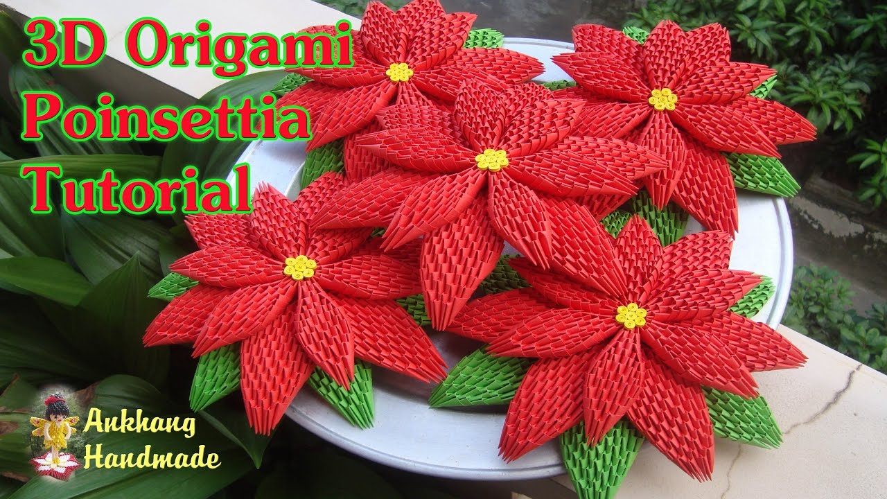 How To Make 3d Origami Poinsettia Flower Diy Paper Poinsettia