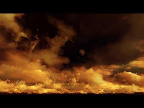 ( CGI 4k Stock Footage ) Alien orange apocalyptic dramatic sunset clouds with dark sky seamless loop
