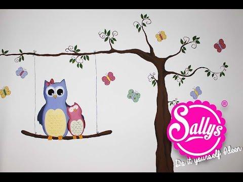 Sallys DIY Ideen: Kinderzimmer Bemalung / Eulenmotiv   YouTube