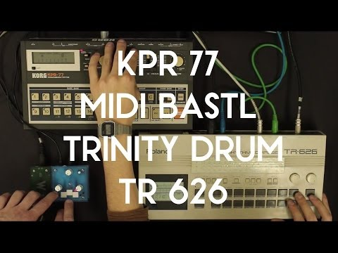 MIDI Bastl converts MIDI Clock from TR 626 to din sync 48 for KPR 77 + Trinity DRUM jam