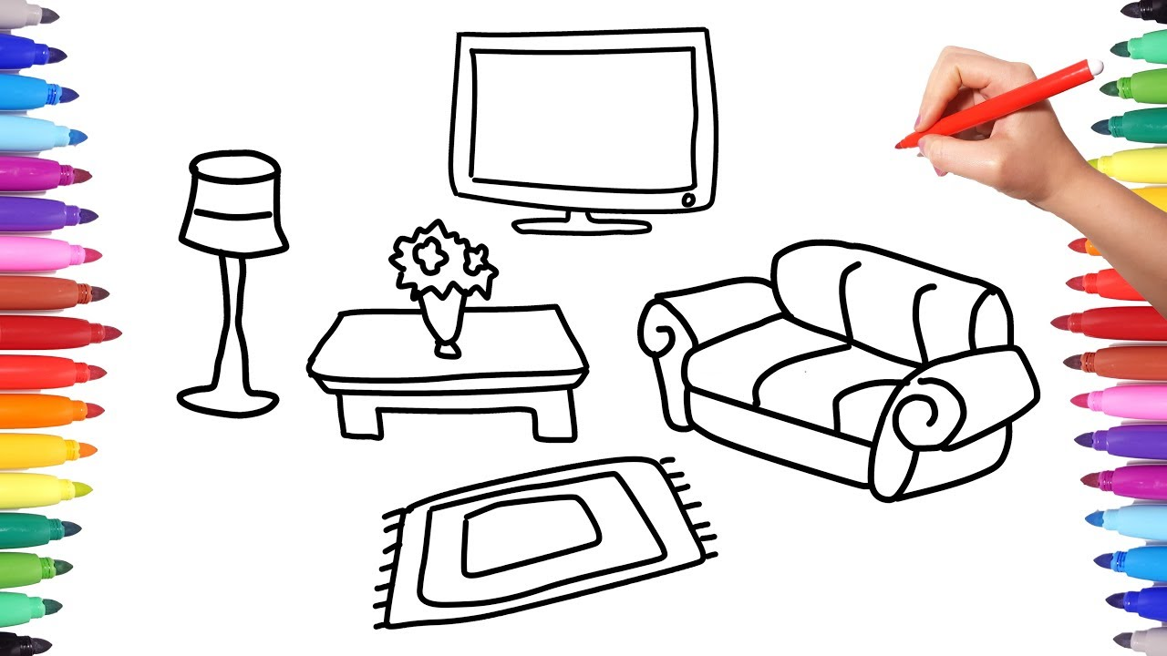 How to Draw Living Room Set Coloring Pages for Kids | House Set ...