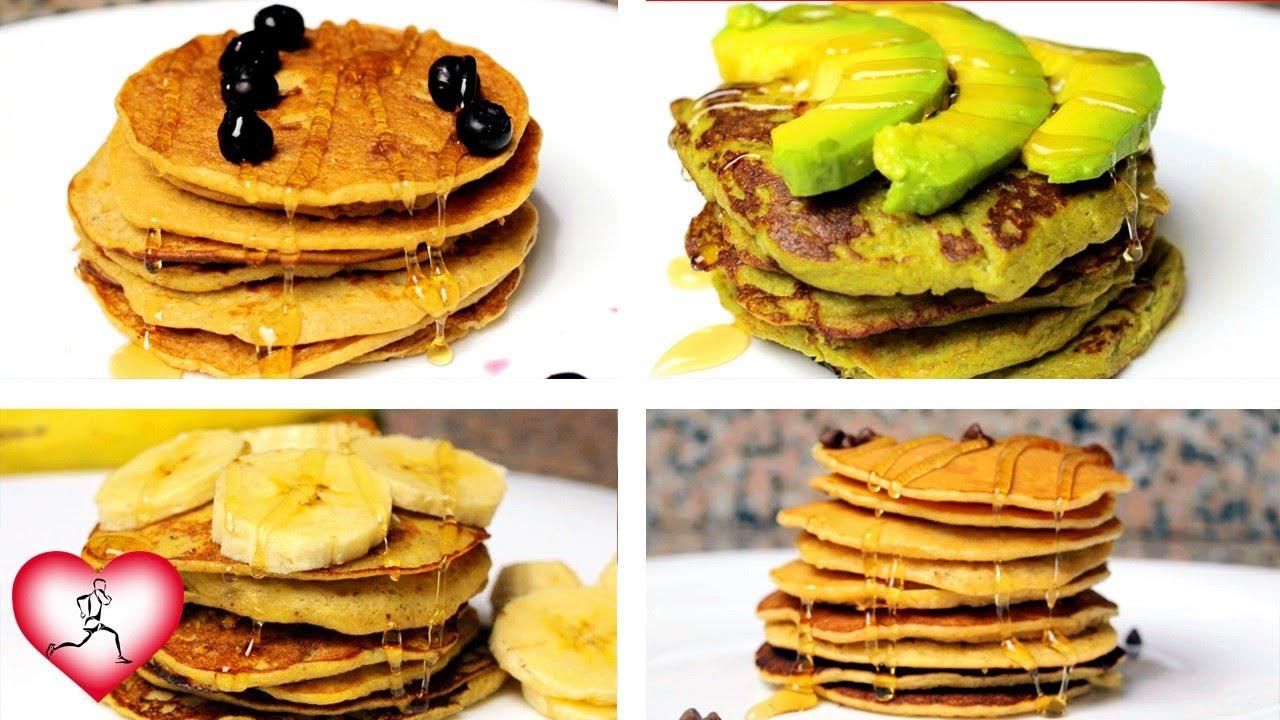 4 PANCAKES Saludables y Faciles | HOTCAKES o tortillas americanas hechas en casa