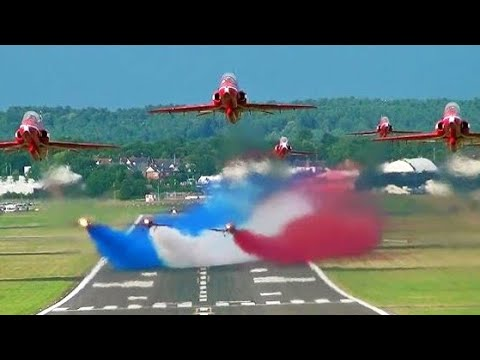 🇬🇧 The Red Arrows Farnborough Airshow Takeoff With Smoke.