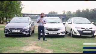 Hyundai Verna Vs Honda City Vs Toyota Yaris Hindi Comparison Test | Auto India