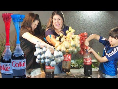 COCA-COLA COM MENTOS VS BALLOONS