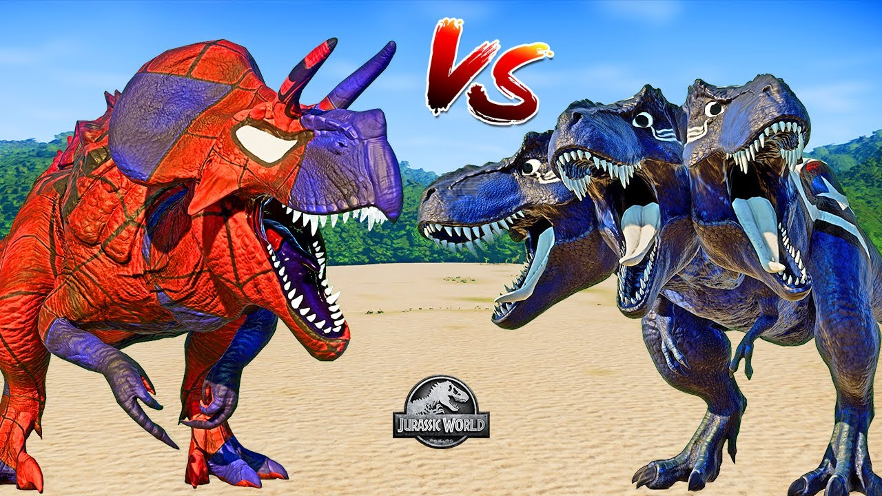 Spiderman Ultimasaurus vs Captain America T-Rex vs Venom Giganotosaurus (🌍 Jurassic World Evolution)