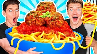 GIANT FOOD CHALLENGE #2 w/ 100lbs Spaghetti u0026 Meatballs Plus How To Make Funny Frozen Foods