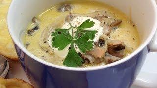 Creamy Mushroom Bacon Soup  With Oven Roasted Mozzarella Toasts Video Recipe Cheekyricho