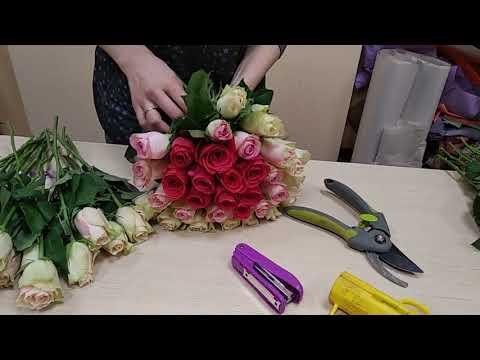 Собираем букет из розы 129, видеоурок, мастер класс. Часть 3