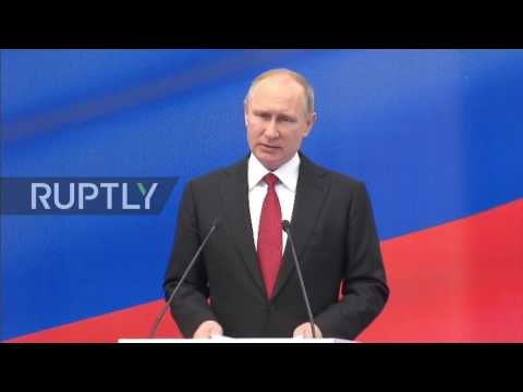 Russia: Putin takes part in naming ceremony of 'Christophe de Margerie' Arctic LNG tanker