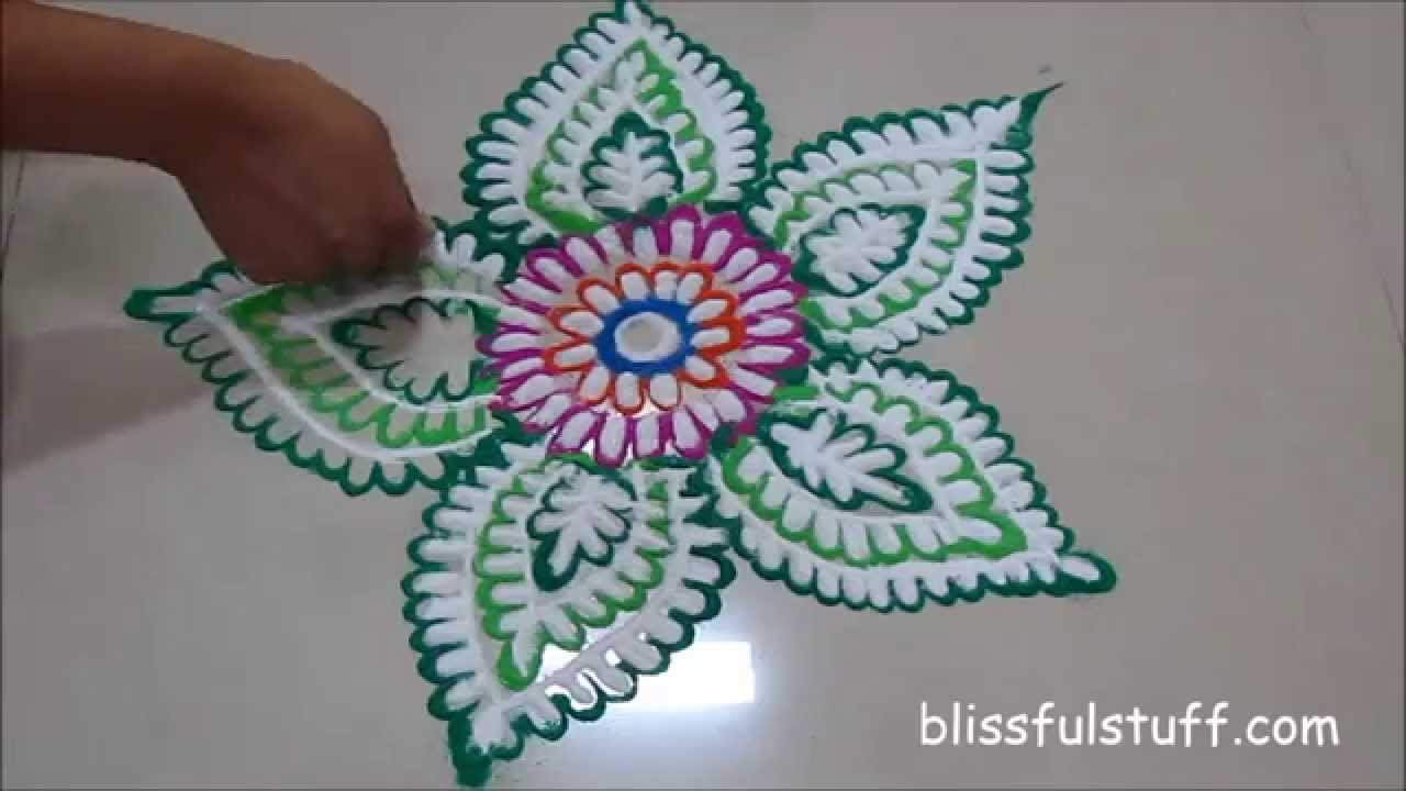 Quick and easy rangoli design rangoli by poonam doovi for Home made rangoli designs