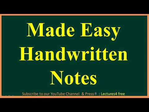 Made Easy Handwritten Notes of almost all Subjects & all branches