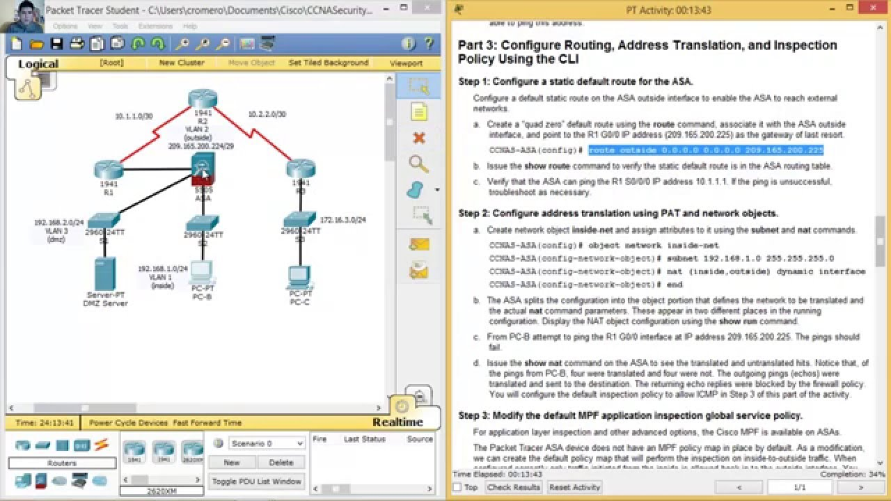 9 3 1 1 Packet Tracer - Configuring ASA Basic Settings and Firewall Using  CLI