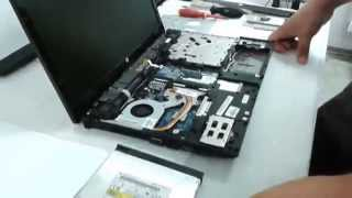 How to disassemble the HP ProBook 4525s, replace the memory, hard drive, fan cleanup