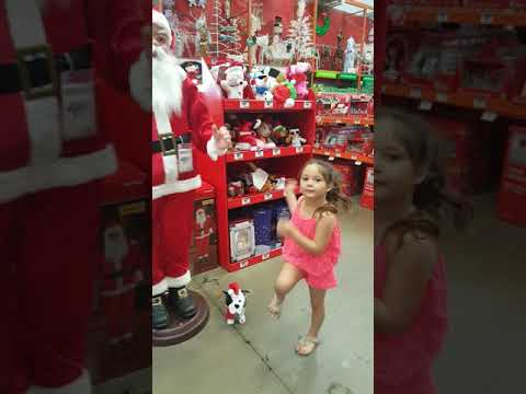 Dancing in home depot with santa