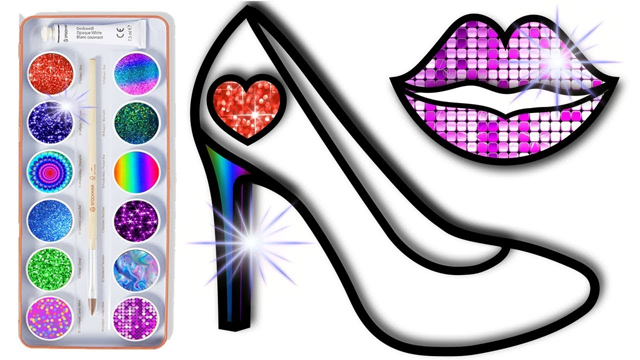 How To Draw Glitter High Heel For Girls