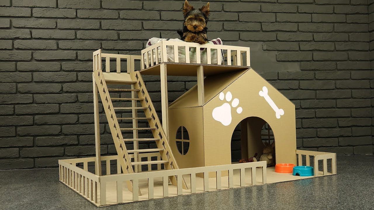How to make amazing puppy dog house from cardboard youtube for Homes built on your land with no money down