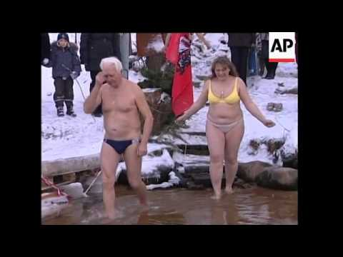 Russian girls skinny dipping in winter