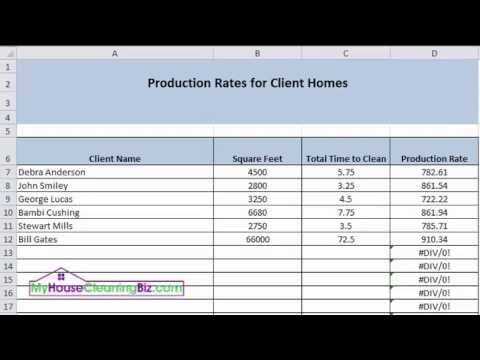 Production Rates Tracking For Residential Cleaning