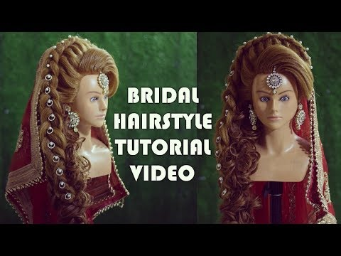 latest pakistani hairstyle for barat function | muslim bridal || dutch braid on puff front hairstyle thumbnail