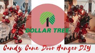 Dollar Tree DIY Ornament Led Candy Cane Wreath Tutorial | 2019