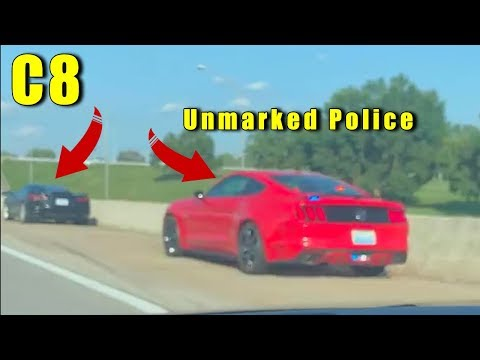 Unmarked POLICE 🚓 Mustang Pulls Over 2020 Corvette.