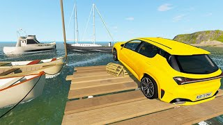 Beamng Drive - Car Jumping Into Ferry #5 | BeamNG-Destruction
