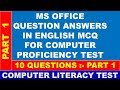 COMPUTER LITERACY TEST MS OFFICE PART 1 MCQ QUESTION ANSWERS FOR CLT EXAM IN ENGLISH