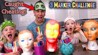 3 Marker Mannequin Challenge! Dad Caught on Camera Cheating!!!