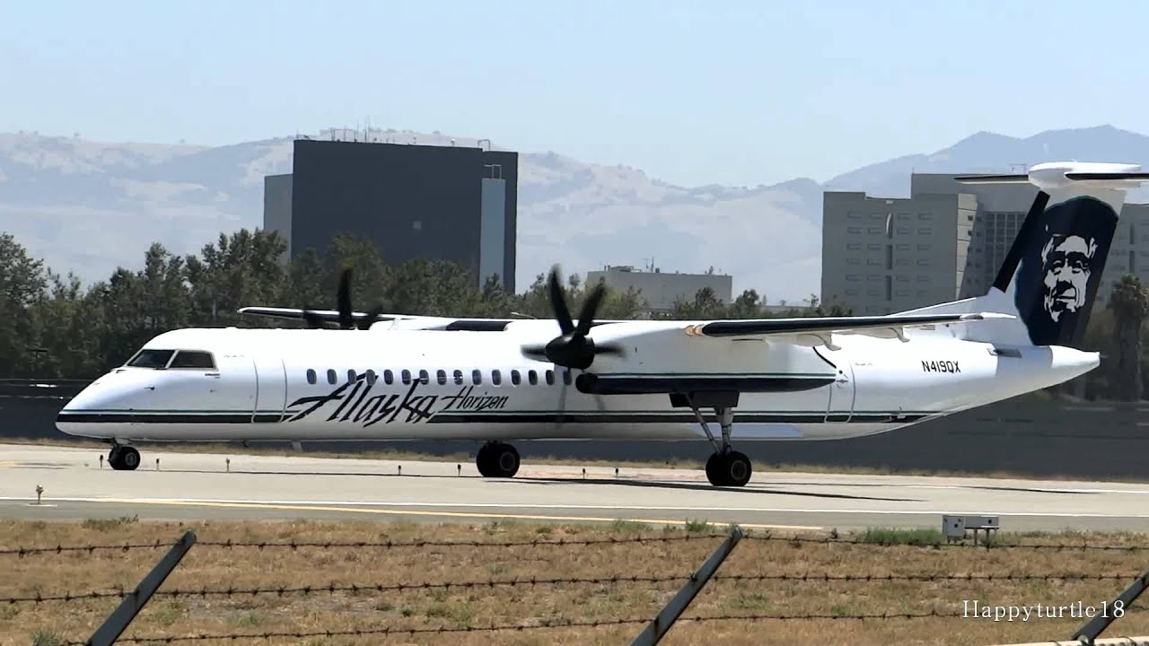 Alaska Airlines Dash 8 Q400 Close Up Takeoff From San Jose