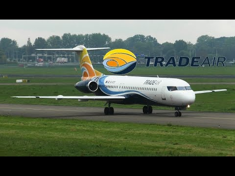 Trade Air Fokker 100 9A-BTE Take Off Rotterdam Airport & Vueling A320