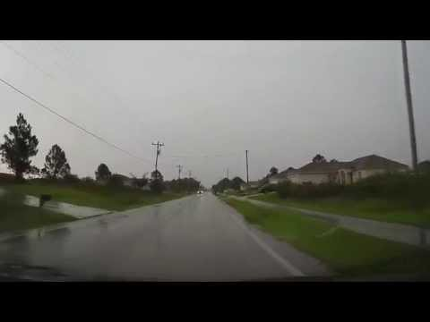 Driving around Lehigh Acres, Florida in a thunderstorm to Pizza Hut