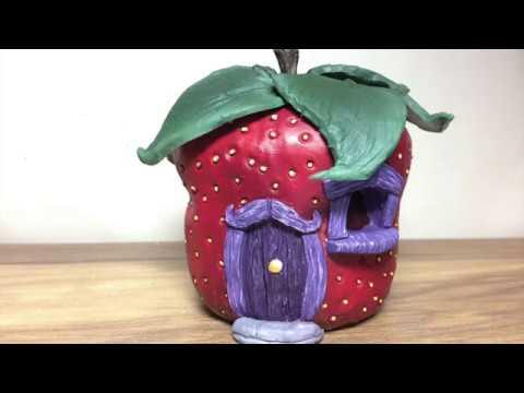 DIY DAS Paper Clay Strawberry Fairy House Night Light Lantern , How To Make