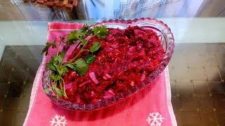 Вкуснейший салат из свеклы с жареным луком!!!